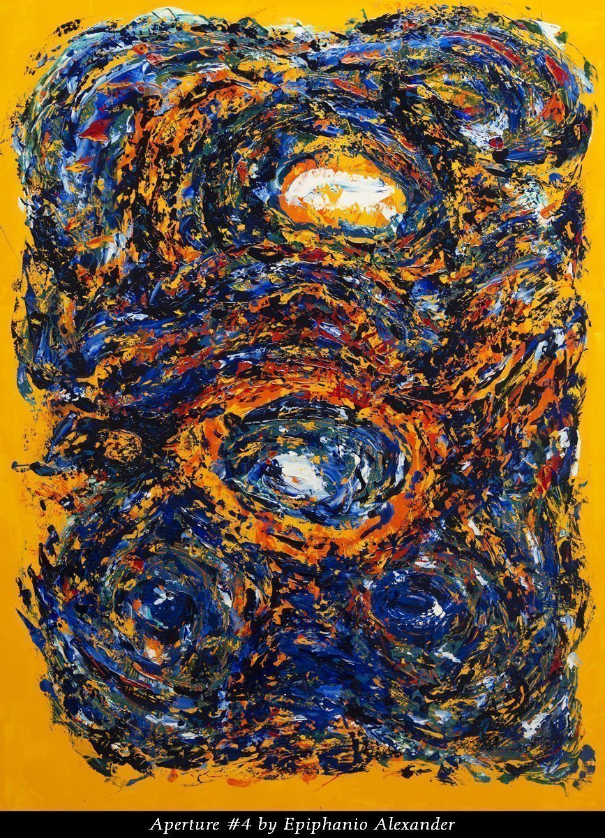 Aperture #4 by Epiphanio Alexander. 36″x 48″ Oil impasto on Board with UV Gloss Varnish.